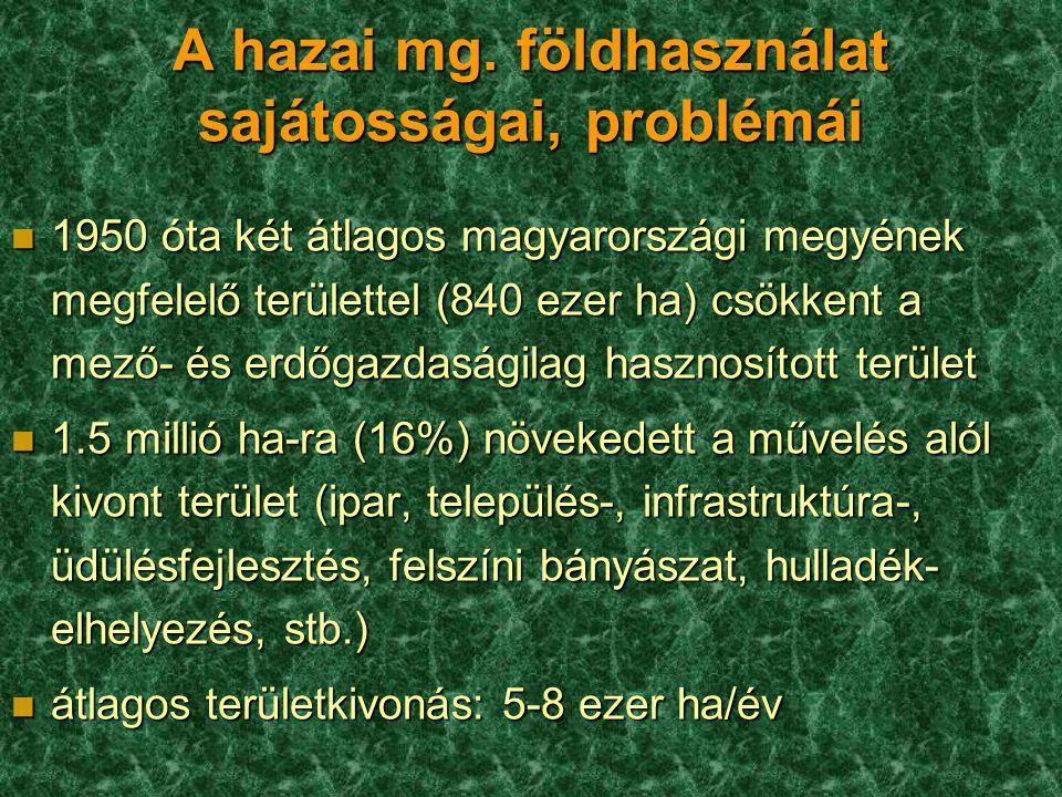 A hazai mg. földhasználat sajátosságai, problémái n 1950 óta két átlagos magyarországi megyének megfelelő területtel (840 ezer ha) csökkent a mező- és