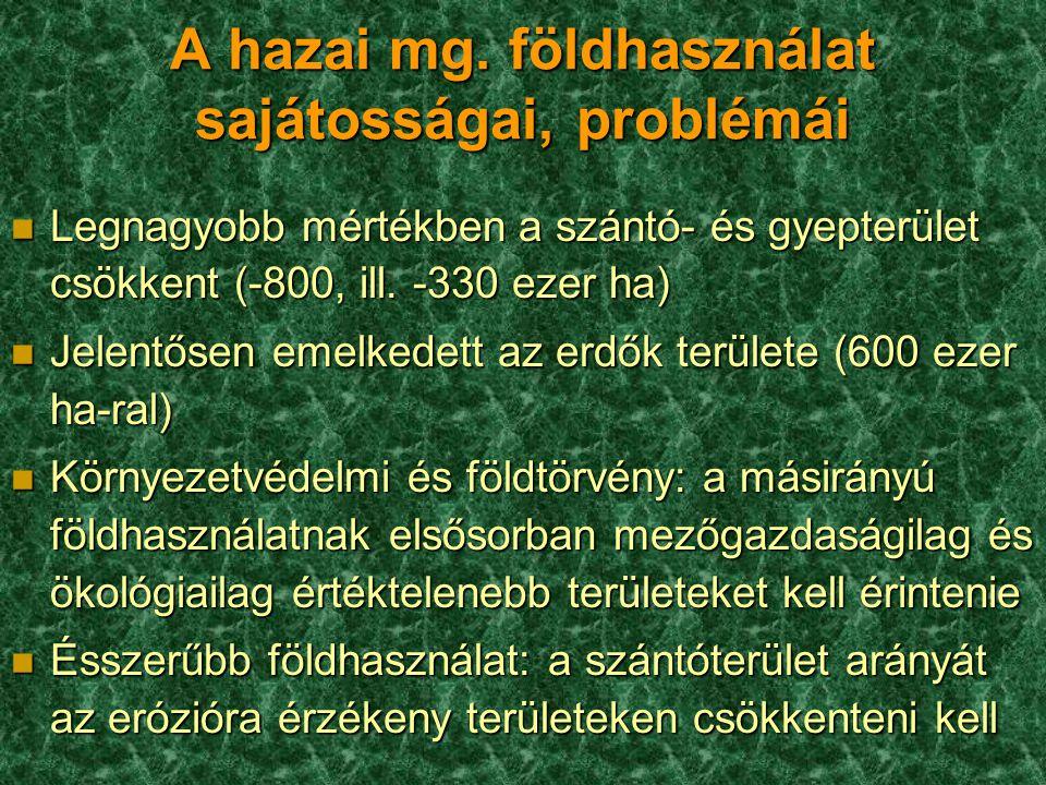 A hazai mg. földhasználat sajátosságai, problémái n Legnagyobb mértékben a szántó- és gyepterület csökkent (-800, ill. -330 ezer ha) n Jelentősen emel
