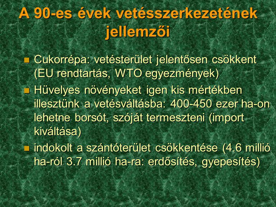 A 90-es évek vetésszerkezetének jellemzői n Cukorrépa: vetésterület jelentősen csökkent (EU rendtartás, WTO egyezmények) n Hüvelyes növényeket igen ki