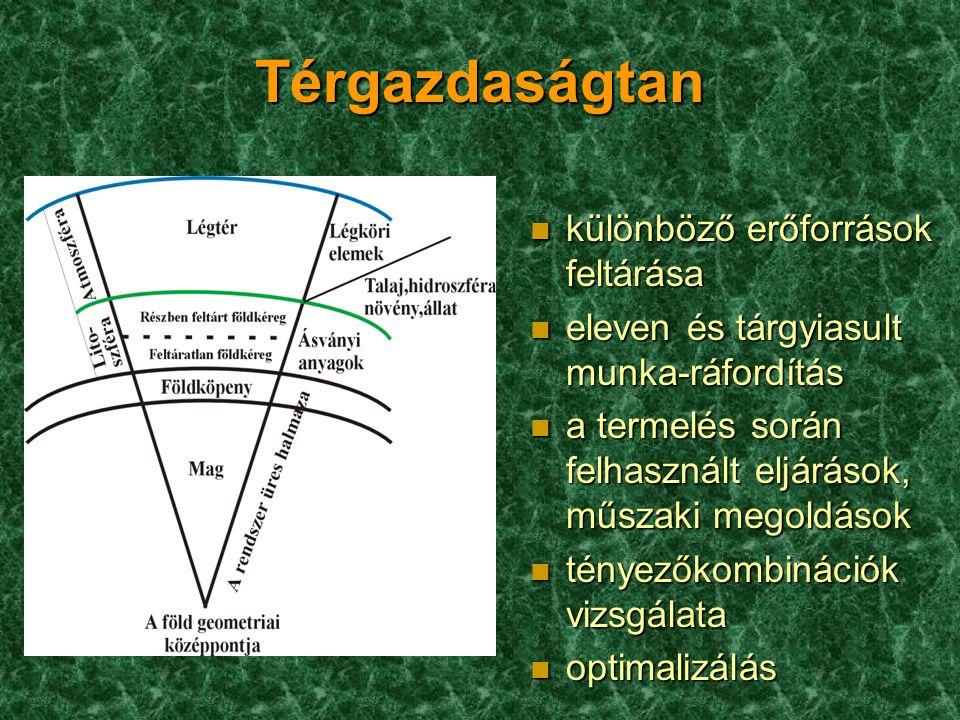 Térgazdaságtan n különböző erőforrások feltárása n eleven és tárgyiasult munka-ráfordítás n a termelés során felhasznált eljárások, műszaki megoldások