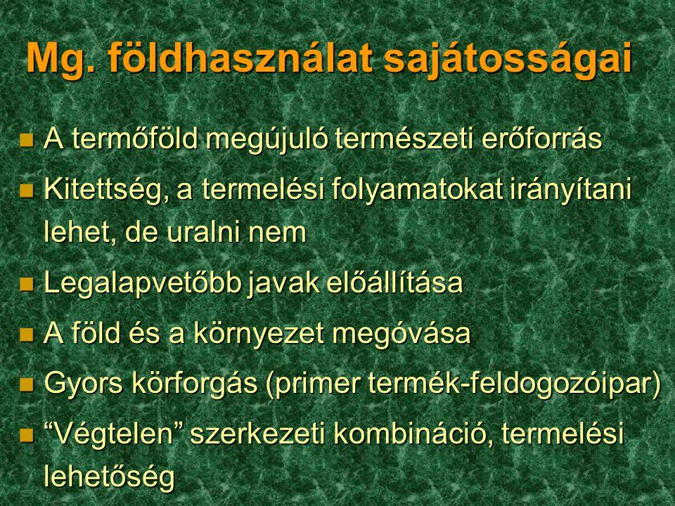 Mg. földhasználat sajátosságai n A termőföld megújuló természeti erőforrás n Kitettség, a termelési folyamatokat irányítani lehet, de uralni nem n Leg