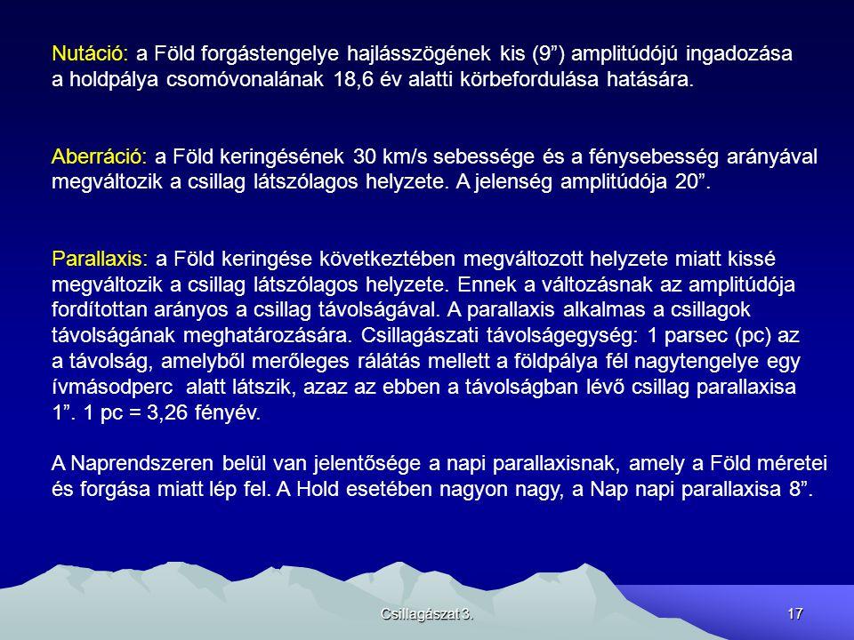 """Csillagászat 3.17 Nutáció: a Föld forgástengelye hajlásszögének kis (9"""") amplitúdójú ingadozása a holdpálya csomóvonalának 18,6 év alatti körbefordulá"""