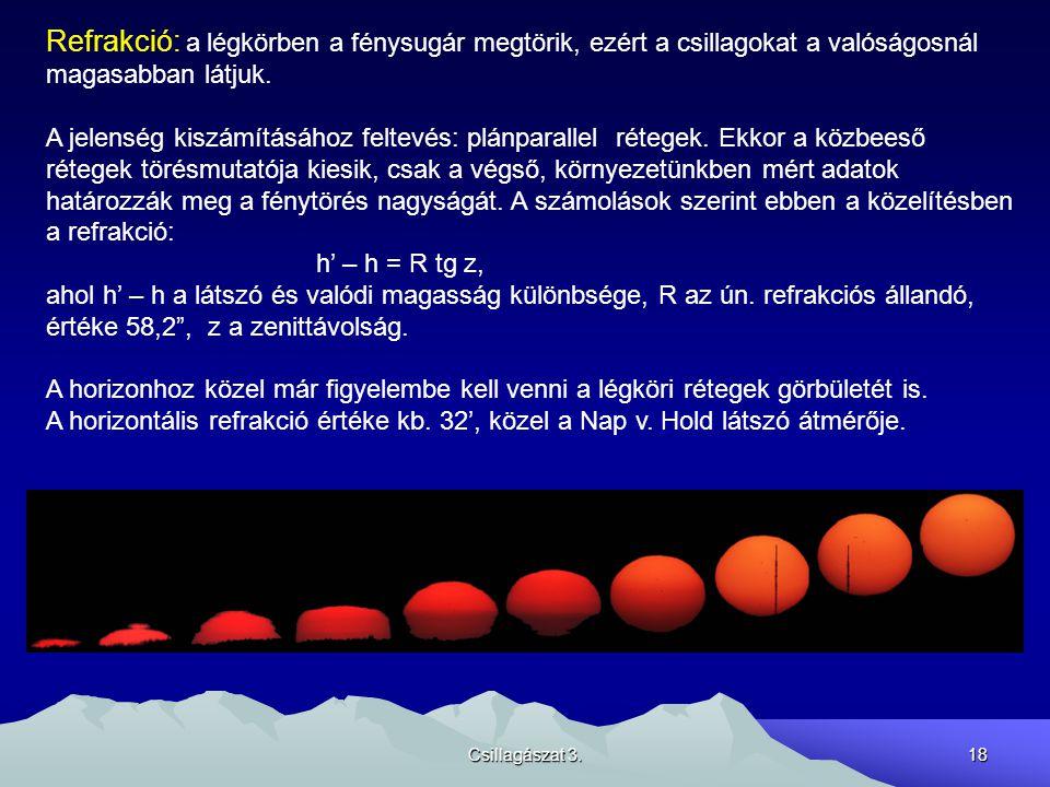 Csillagászat 3.18 Refrakció: a légkörben a fénysugár megtörik, ezért a csillagokat a valóságosnál magasabban látjuk. A jelenség kiszámításához feltevé