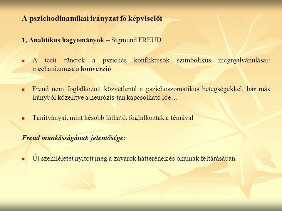 A pszichodinamikai irányzat fő képviselői 1, Analitikus hagyományok – Sigmund FREUD A testi tünetek a pszichés konfliktusok szimbolikus megnyilvánulás