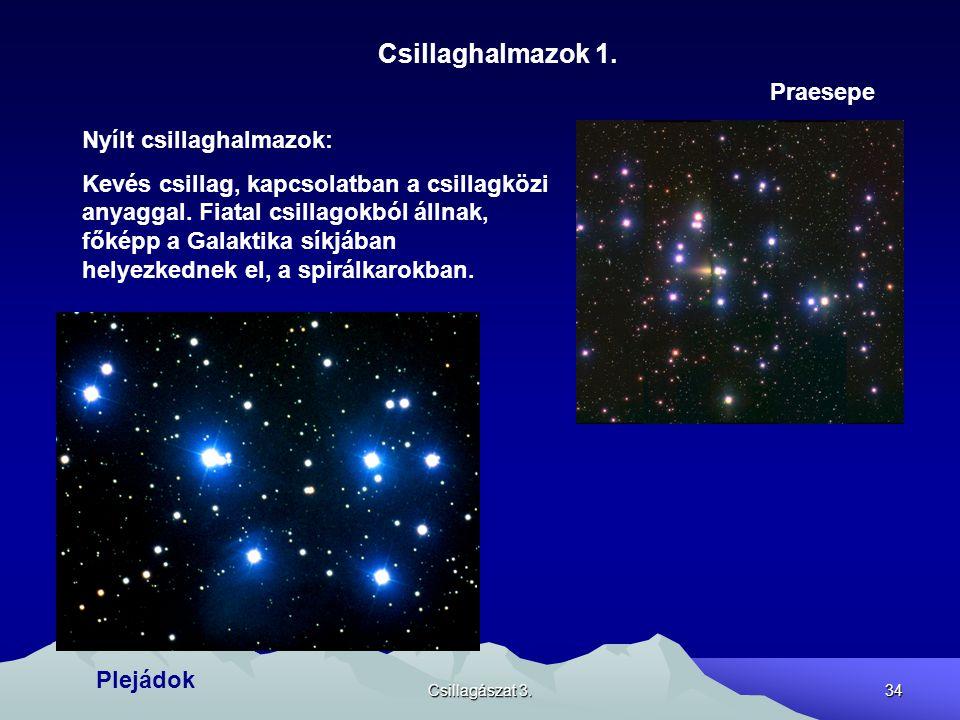 Csillagászat 3.34 Csillaghalmazok 1. Nyílt csillaghalmazok: Kevés csillag, kapcsolatban a csillagközi anyaggal. Fiatal csillagokból állnak, főképp a G