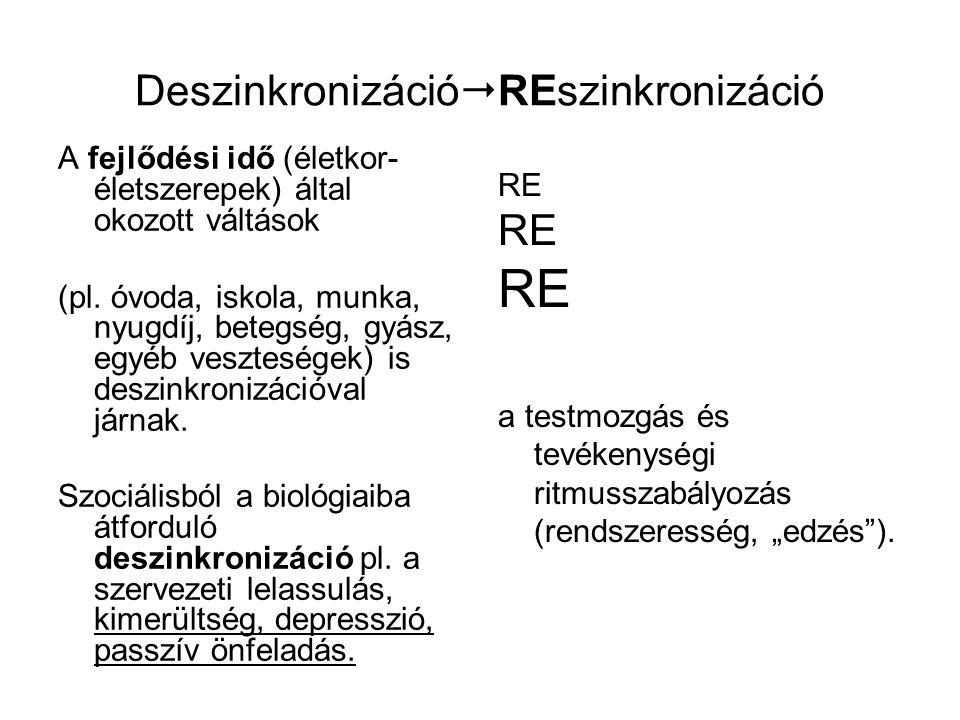 Deszinkronizáció  REszinkronizáció A fejlődési idő (életkor- életszerepek) által okozott váltások (pl. óvoda, iskola, munka, nyugdíj, betegség, gyász