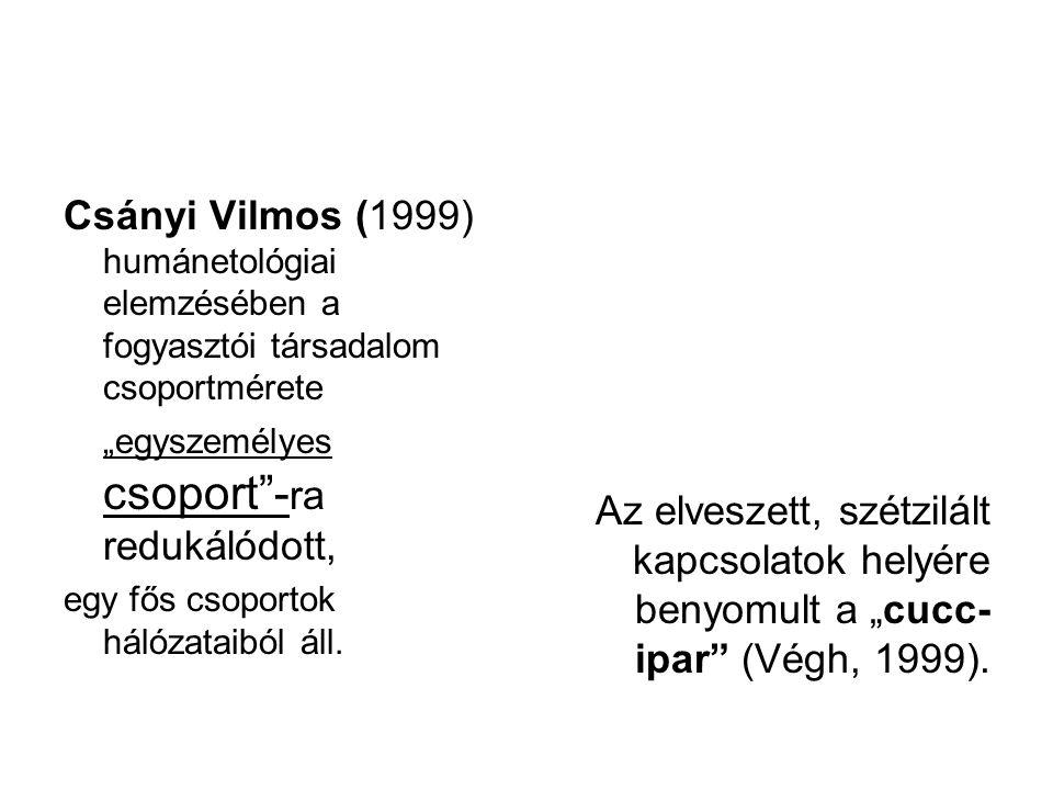 """Csányi Vilmos (1999) humánetológiai elemzésében a fogyasztói társadalom csoportmérete """"egyszemélyes csoport""""- ra redukálódott, egy fős csoportok hálóz"""