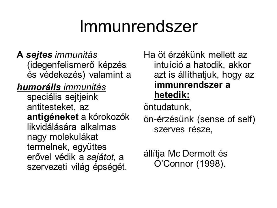 Immunrendszer A sejtes immunitás (idegenfelismerő képzés és védekezés) valamint a humorális immunitás speciális sejtjeink antitesteket, az antigéneket