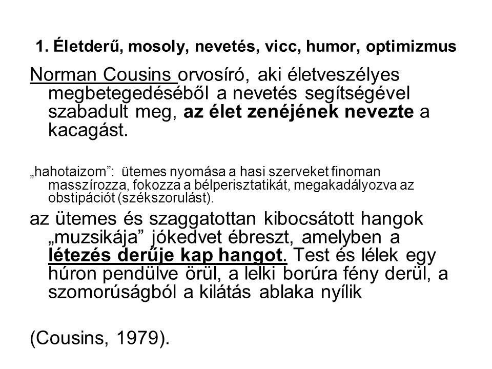 1. Életderű, mosoly, nevetés, vicc, humor, optimizmus Norman Cousins orvosíró, aki életveszélyes megbetegedéséből a nevetés segítségével szabadult meg