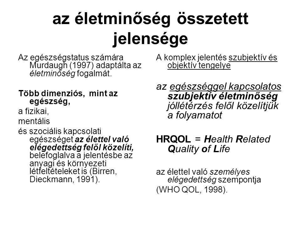 az életminőség összetett jelensége Az egészségstatus számára Murdaugh (1997) adaptálta az életminőség fogalmát. Több dimenziós, mint az egészség, a fi
