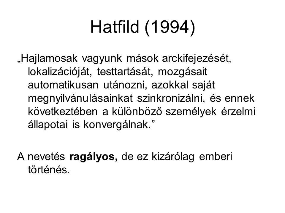 """Hatfild (1994) """"Hajlamosak vagyunk mások arckifejezését, lokalizációját, testtartását, mozgásait automatikusan utánozni, azokkal saját megnyilvánulása"""