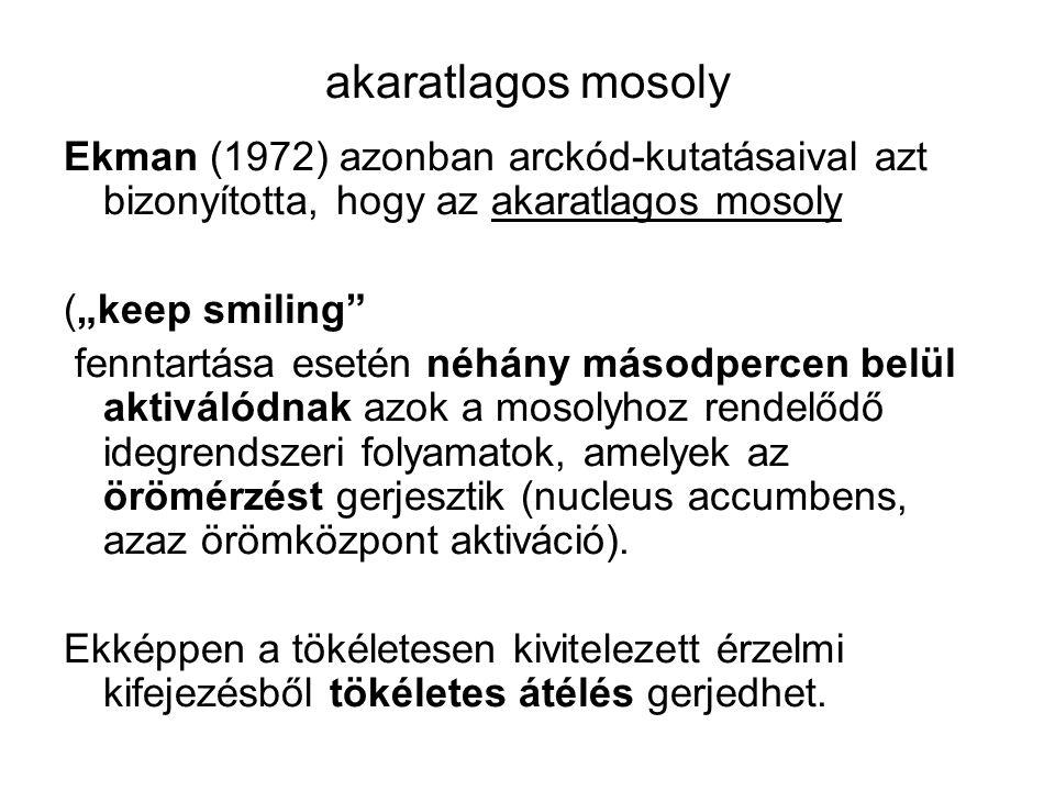 """akaratlagos mosoly Ekman (1972) azonban arckód-kutatásaival azt bizonyította, hogy az akaratlagos mosoly (""""keep smiling"""" fenntartása esetén néhány más"""