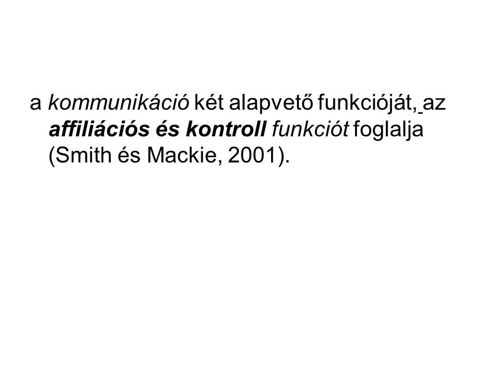 a kommunikáció két alapvető funkcióját, az affiliációs és kontroll funkciót foglalja (Smith és Mackie, 2001).