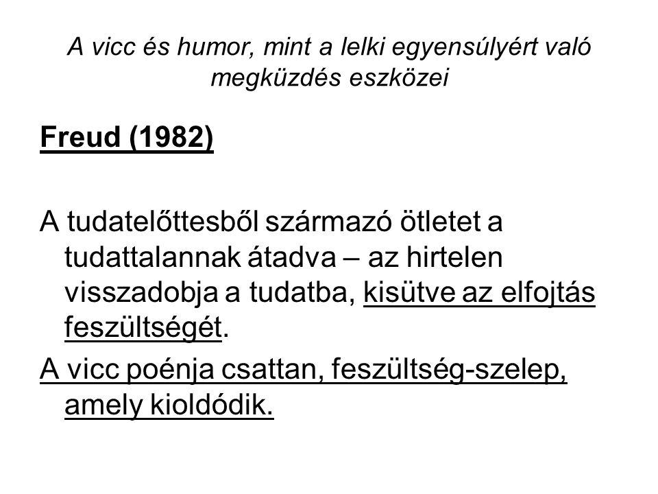 A vicc és humor, mint a lelki egyensúlyért való megküzdés eszközei Freud (1982) A tudatelőttesből származó ötletet a tudattalannak átadva – az hirtele