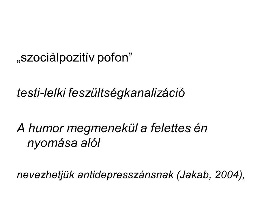 """""""szociálpozitív pofon"""" testi-lelki feszültségkanalizáció A humor megmenekül a felettes én nyomása alól nevezhetjük antidepresszánsnak (Jakab, 2004),"""