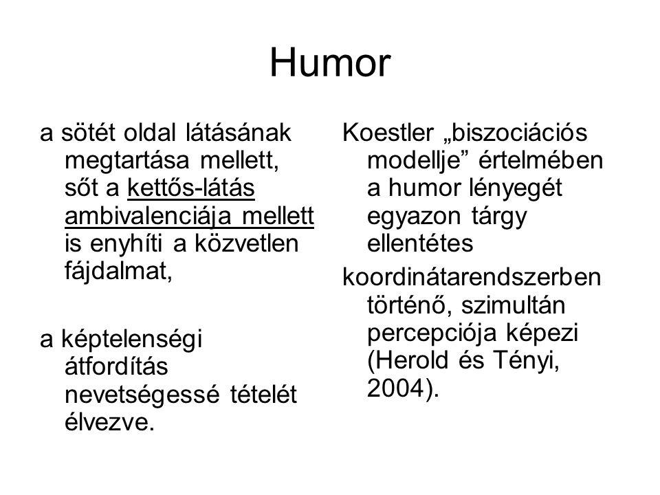 Humor a sötét oldal látásának megtartása mellett, sőt a kettős-látás ambivalenciája mellett is enyhíti a közvetlen fájdalmat, a képtelenségi átfordítá