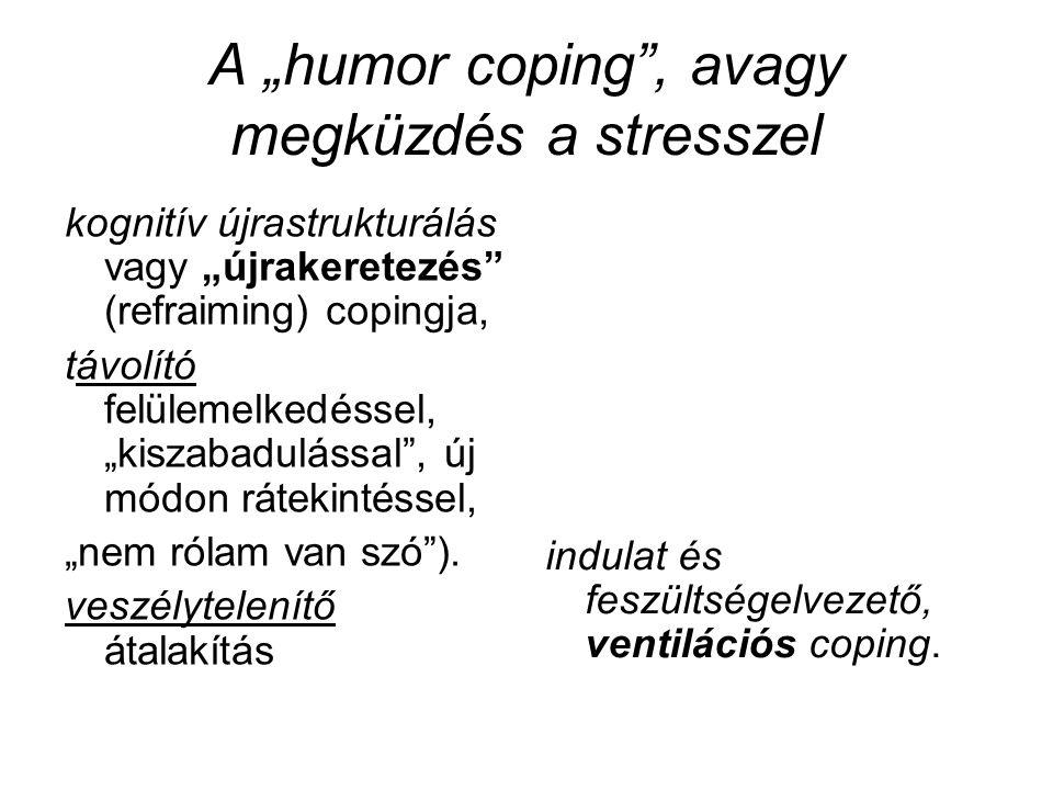 """A """"humor coping"""", avagy megküzdés a stresszel kognitív újrastrukturálás vagy """"újrakeretezés"""" (refraiming) copingja, távolító felülemelkedéssel, """"kisza"""