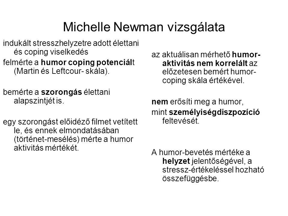 Michelle Newman vizsgálata indukált stresszhelyzetre adott élettani és coping viselkedés felmérte a humor coping potenciált (Martin és Leftcour- skála