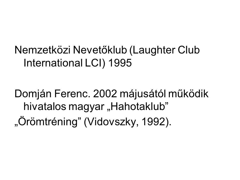 """Nemzetközi Nevetőklub (Laughter Club International LCI) 1995 Domján Ferenc. 2002 májusától működik hivatalos magyar """"Hahotaklub"""" """"Örömtréning"""" (Vidovs"""