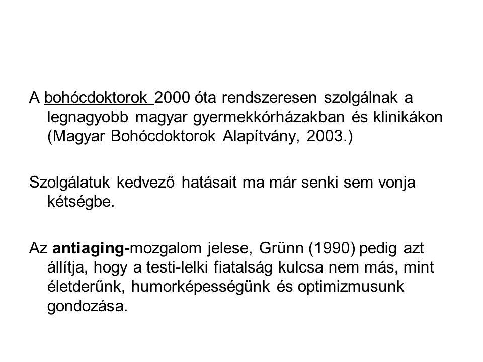 A bohócdoktorok 2000 óta rendszeresen szolgálnak a legnagyobb magyar gyermekkórházakban és klinikákon (Magyar Bohócdoktorok Alapítvány, 2003.) Szolgál