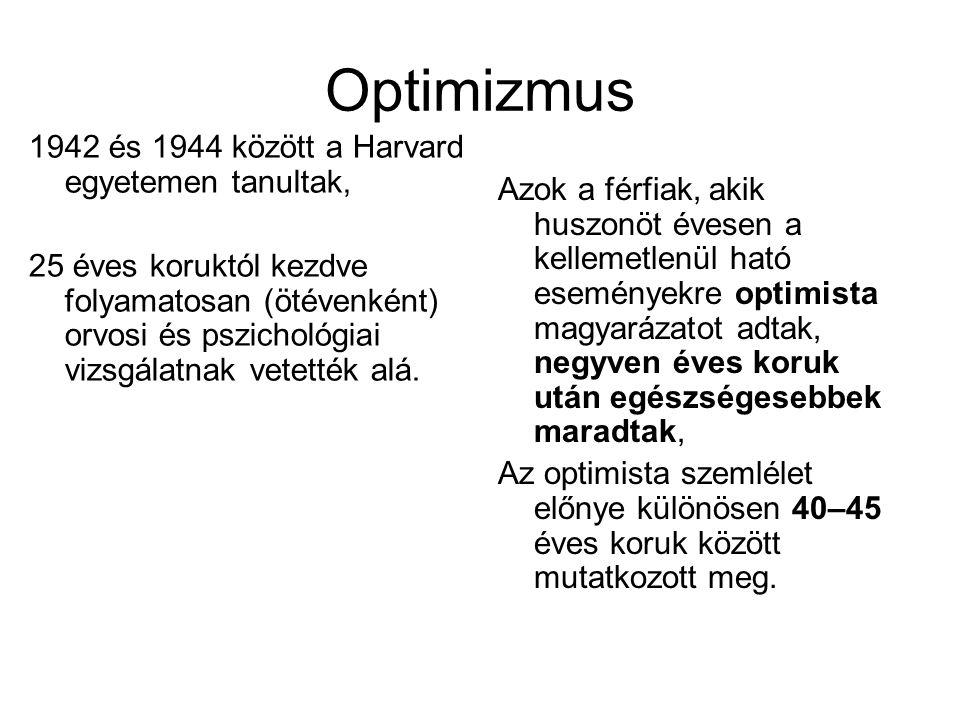 Optimizmus 1942 és 1944 között a Harvard egyetemen tanultak, 25 éves koruktól kezdve folyamatosan (ötévenként) orvosi és pszichológiai vizsgálatnak ve