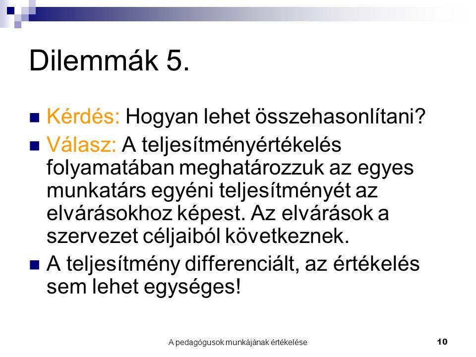 A pedagógusok munkájának értékelése10 Dilemmák 5. Kérdés: Hogyan lehet összehasonlítani.