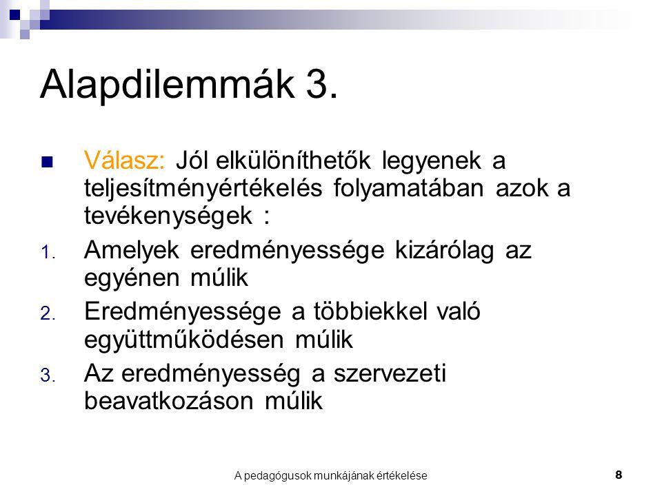 A pedagógusok munkájának értékelése8 Alapdilemmák 3.
