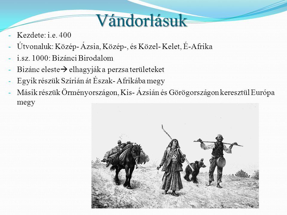 Vándorlásuk - Kezdete: i.e. 400 - Útvonaluk: Közép- Ázsia, Közép-, és Közel- Kelet, É-Afrika - i.sz. 1000: Bizánci Birodalom - Bizánc eleste  elhagyj