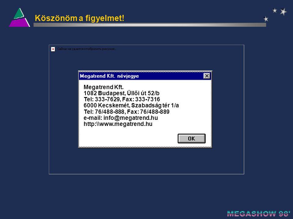 MegaMenü bejelentkező képernyő Jelszóval történő belépés Felhasználónkénti egyedi menüstruktúra