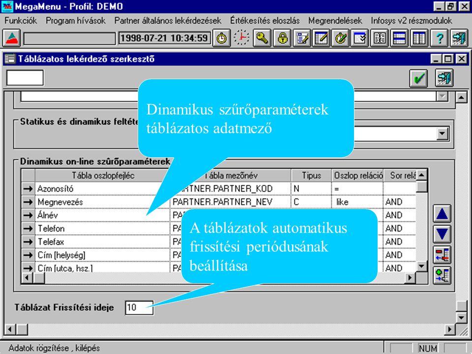 Szűrő paraméterek Szűrőparaméter bekérő tábla
