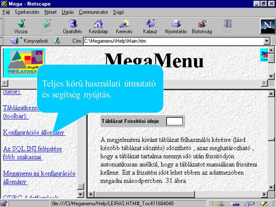 Záró kép Technikai feltételek: - -Microsoft Windows 3.1, 95 vagy NT operációs rendszer - -Fentiek futtatására alkalmas hardver környezet - -20 MB szabad tárolókapacitás - -Az adatbázisok eléréséhez szükséges kliens oldali szoftverek vagy ODBC meghajtók A MegaMenü a Megatrend Kft.