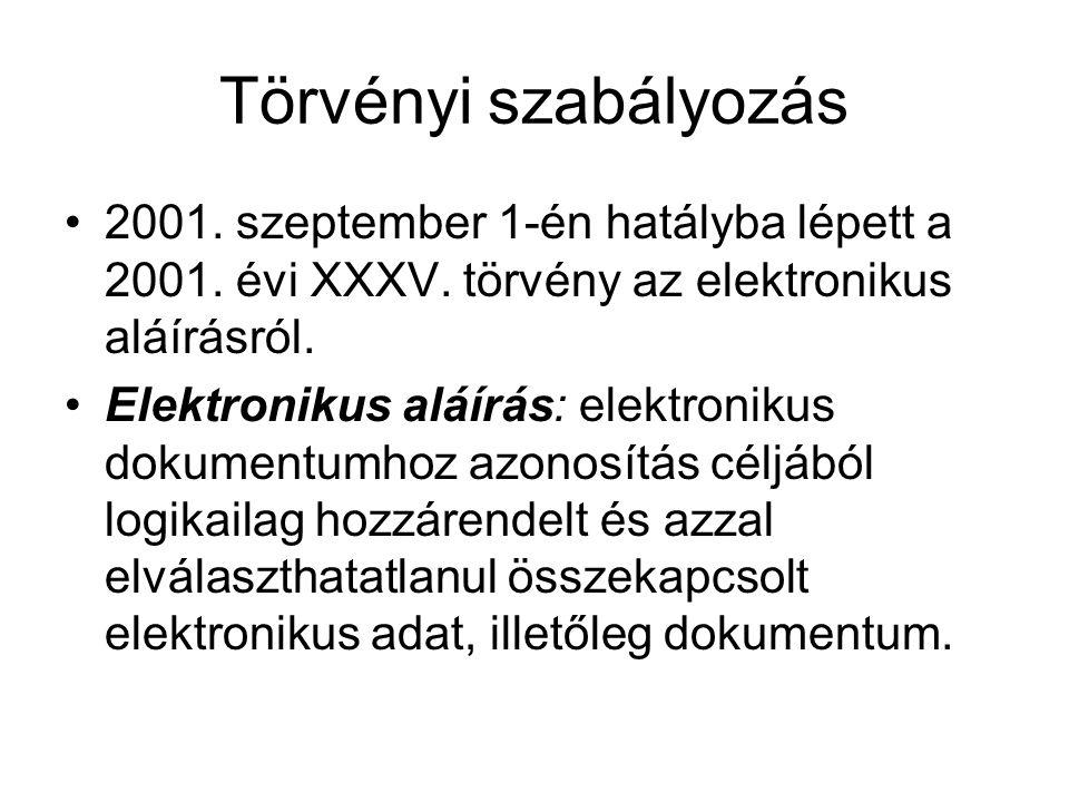 Törvényi szabályozás 2001. szeptember 1-én hatályba lépett a 2001. évi XXXV. törvény az elektronikus aláírásról. Elektronikus aláírás: elektronikus do