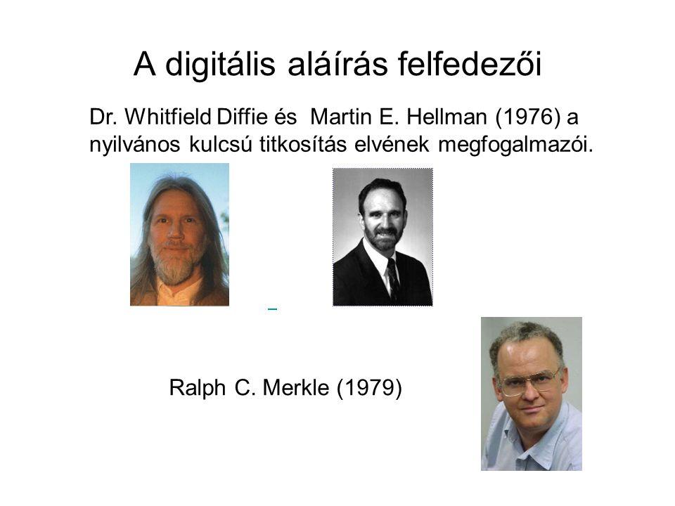 A digitális aláírás felfedezői Dr. Whitfield Diffie és Martin E. Hellman (1976) a nyilvános kulcsú titkosítás elvének megfogalmazói. Ralph C. Merkle (