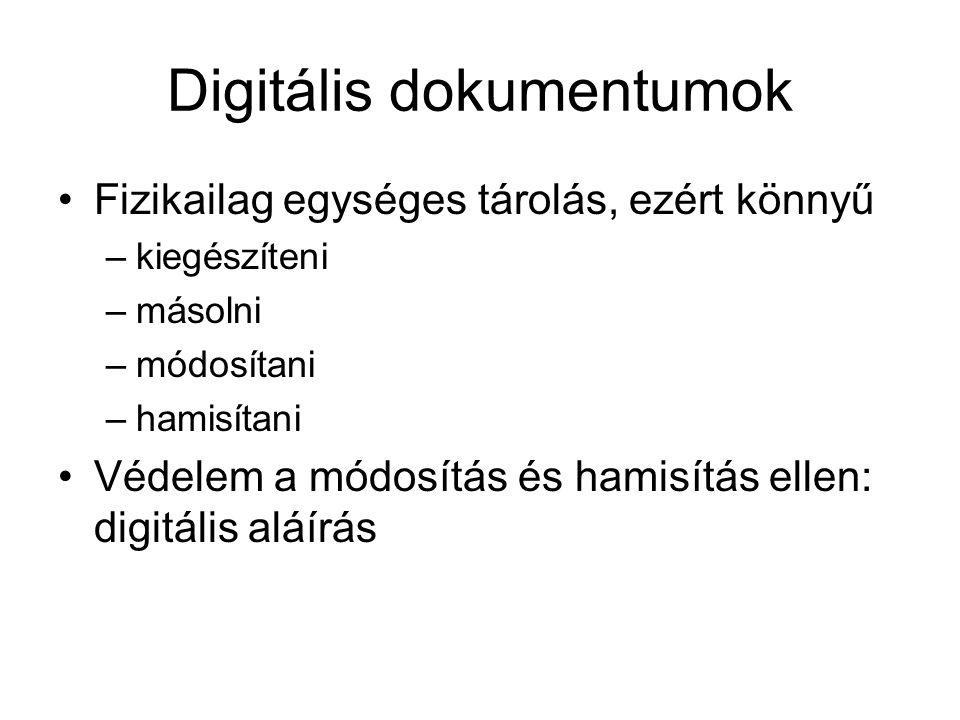 Digitális dokumentumok Fizikailag egységes tárolás, ezért könnyű –kiegészíteni –másolni –módosítani –hamisítani Védelem a módosítás és hamisítás ellen