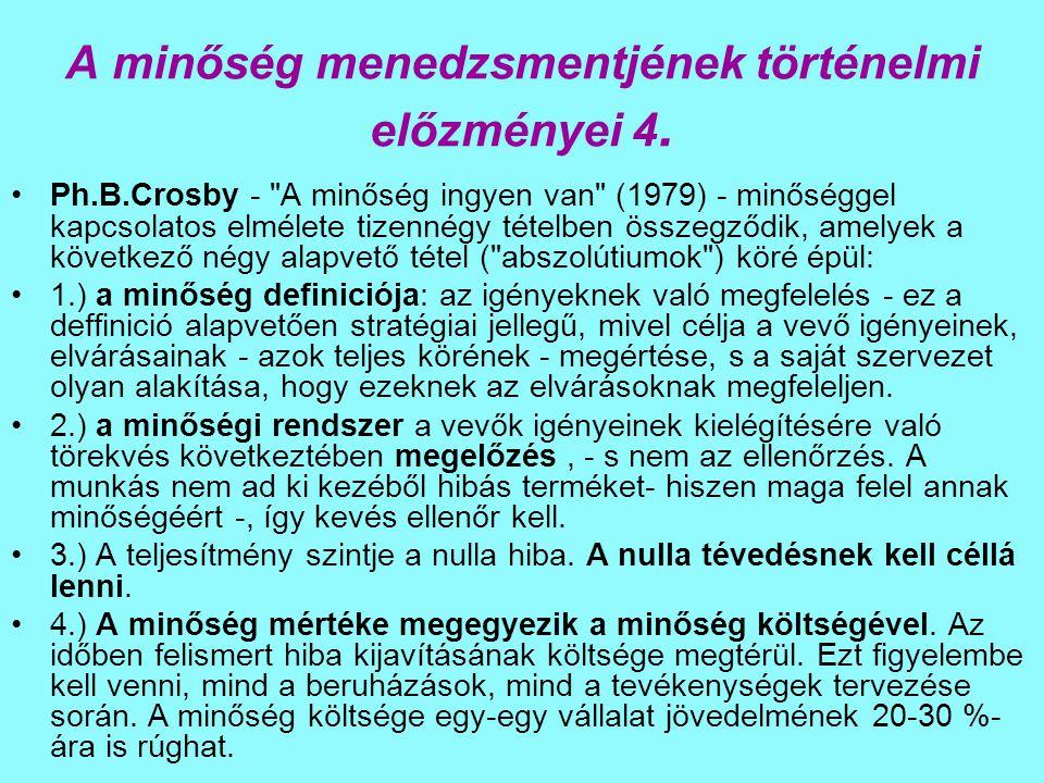A minőség menedzsmentjének történelmi előzményei 4. Ph.B.Crosby -