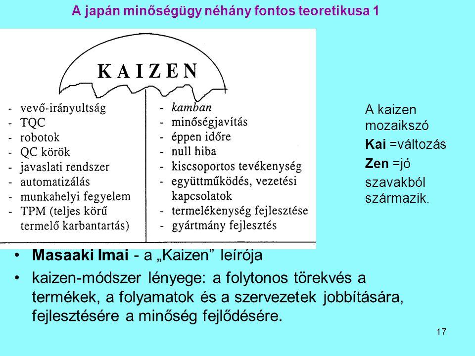 """17 A japán minőségügy néhány fontos teoretikusa 1 A kaizen mozaikszó Kai =változás Zen =jó szavakból származik. Masaaki Imai - a """"Kaizen"""" leírója kaiz"""