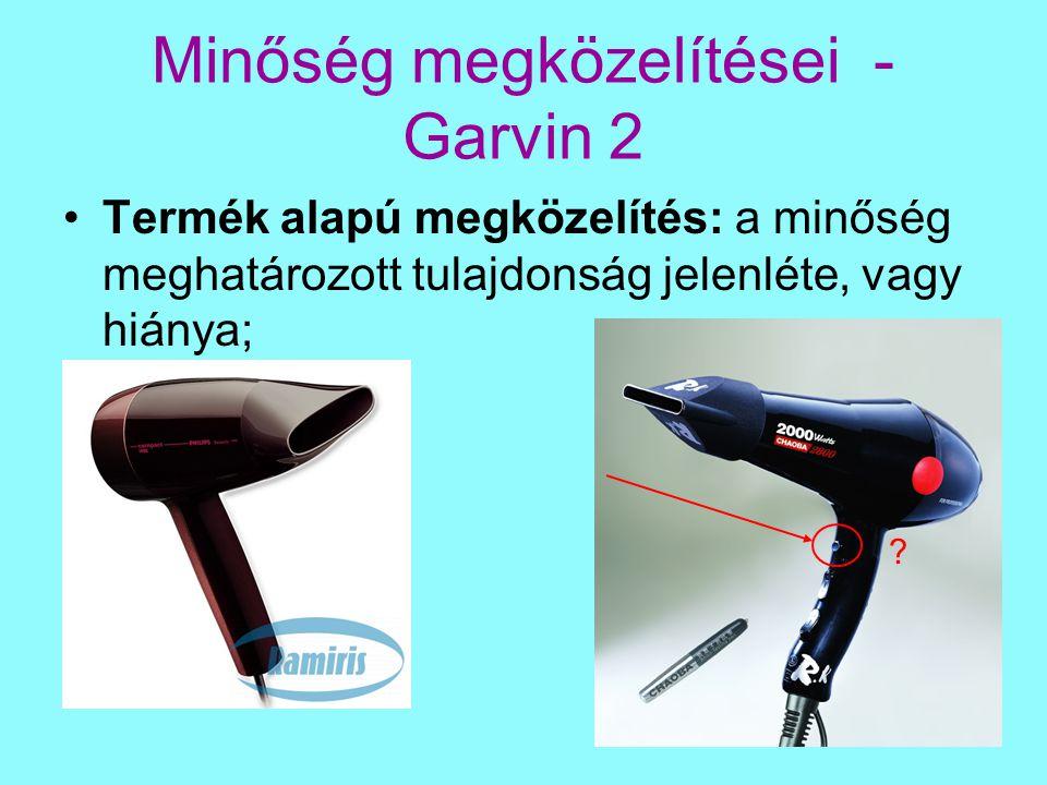 Minőség megközelítései - Garvin 2 Termék alapú megközelítés: a minőség meghatározott tulajdonság jelenléte, vagy hiánya; ?