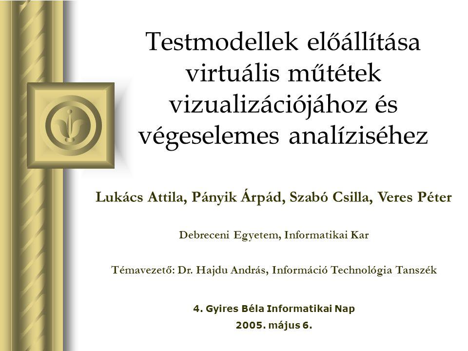 Testmodellek előállítása virtuális műtétek vizualizációjához és végeselemes analíziséhez Lukács Attila, Pányik Árpád, Szabó Csilla, Veres Péter Debrec