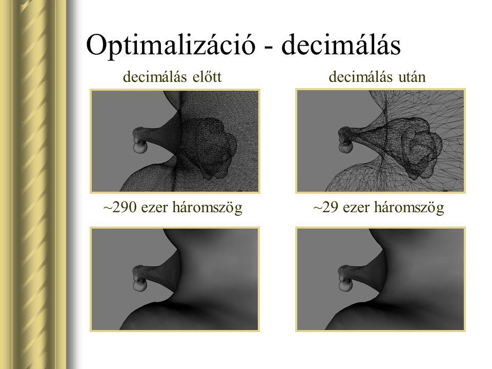 Optimalizáció - decimálás decimálás előttdecimálás után ~29 ezer háromszög~290 ezer háromszög
