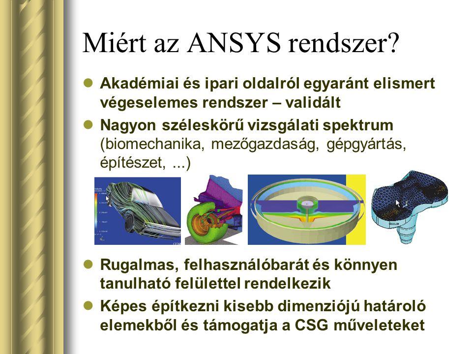 Miért az ANSYS rendszer? Akadémiai és ipari oldalról egyaránt elismert végeselemes rendszer – validált Nagyon széleskörű vizsgálati spektrum (biomecha