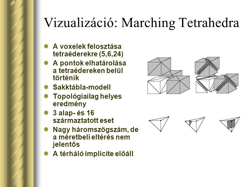 Vizualizáció: Marching Tetrahedra A voxelek felosztása tetraéderekre (5,6,24) A pontok elhatárolása a tetraédereken belül történik Sakktábla-modell Topológiailag helyes eredmény 3 alap- és 16 származtatott eset Nagy háromszögszám, de a méretbeli eltérés nem jelentős A térháló implicite előáll
