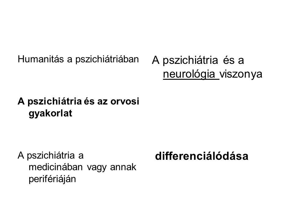 Humanitás a pszichiátriában A pszichiátria és az orvosi gyakorlat A pszichiátria a medicinában vagy annak perifériáján A pszichiátria és a neurológia