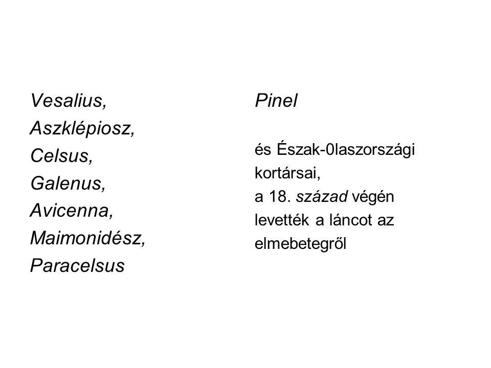Vesalius, Aszklépiosz, Celsus, Galenus, Avicenna, Maimonidész, Paracelsus Pinel és Észak-0laszországi kortársai, a 18. század végén levették a láncot