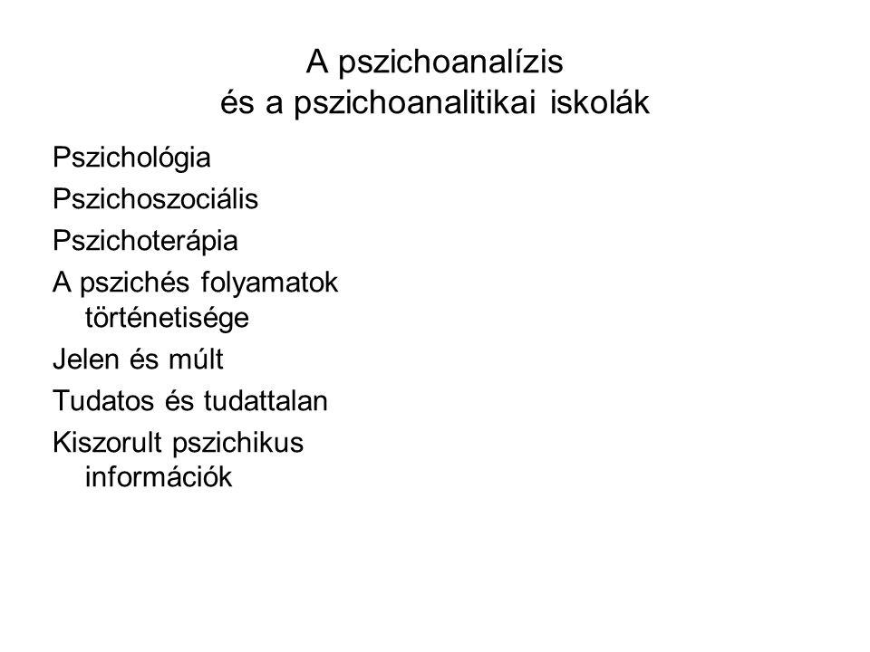 A pszichoanalízis és a pszichoanalitikai iskolák Pszichológia Pszichoszociális Pszichoterápia A pszichés folyamatok történetisége Jelen és múlt Tudato