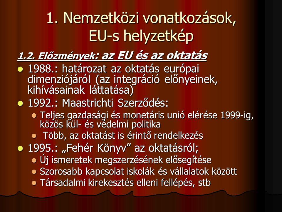 1. Nemzetközi vonatkozások, EU-s helyzetkép 1.2. Előzmények : az EU és az oktatás 1988.: határozat az oktatás európai dimenziójáról (az integráció elő