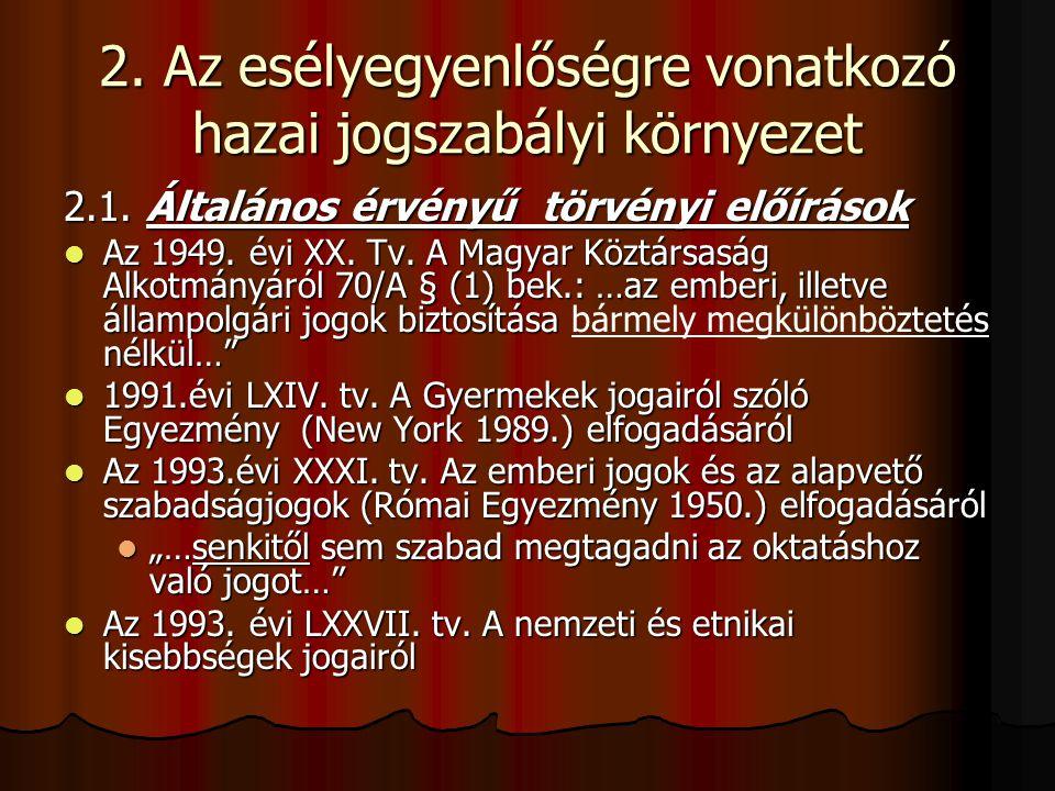 2. Az esélyegyenlőségre vonatkozó hazai jogszabályi környezet 2.1. Általános érvényű törvényi előírások Az 1949. évi XX. Tv. A Magyar Köztársaság Alko
