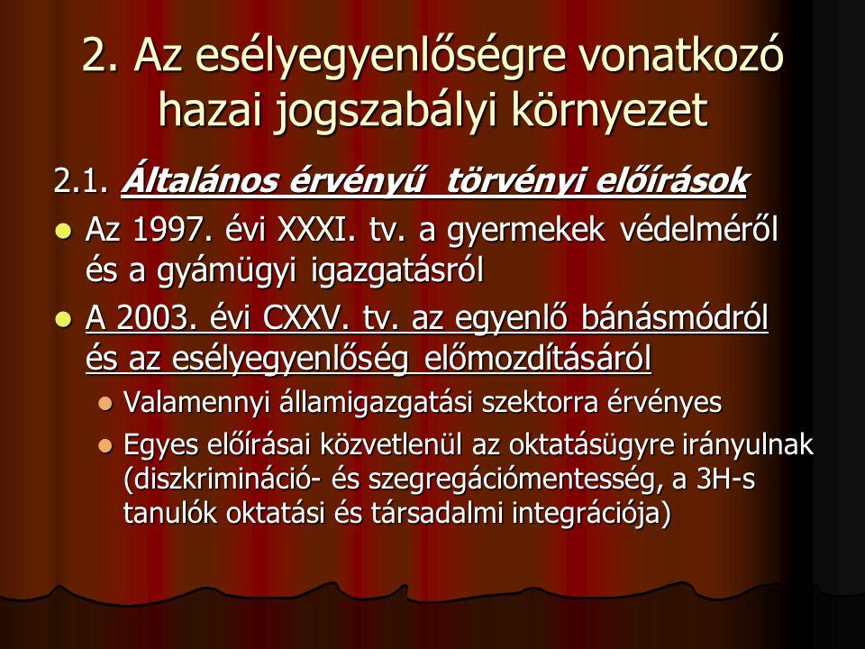 2. Az esélyegyenlőségre vonatkozó hazai jogszabályi környezet 2.1. Általános érvényű törvényi előírások Az 1997. évi XXXI. tv. a gyermekek védelméről