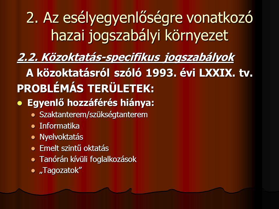 2. Az esélyegyenlőségre vonatkozó hazai jogszabályi környezet 2.2. Közoktatás-specifikus jogszabályok A közoktatásról szóló 1993. évi LXXIX. tv. PROBL