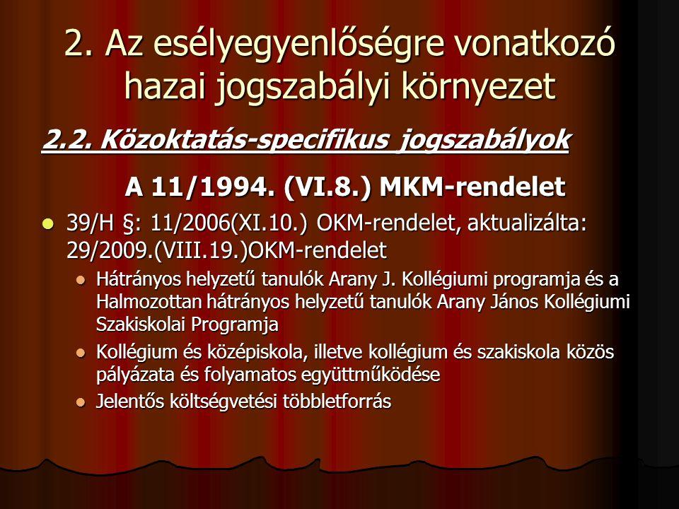 2. Az esélyegyenlőségre vonatkozó hazai jogszabályi környezet 2.2. Közoktatás-specifikus jogszabályok A 11/1994. (VI.8.) MKM-rendelet A 11/1994. (VI.8