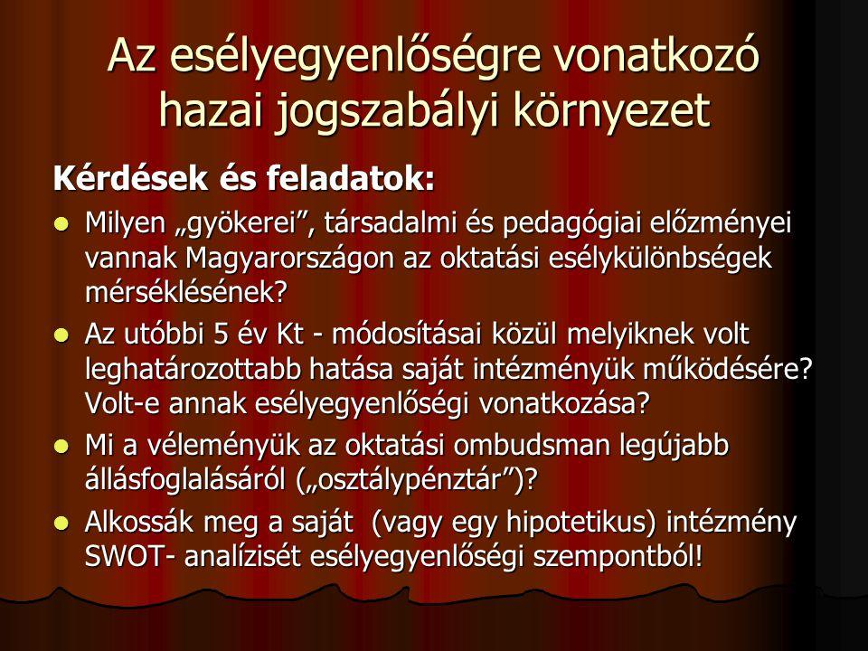 """Az esélyegyenlőségre vonatkozó hazai jogszabályi környezet Kérdések és feladatok: Milyen """"gyökerei"""", társadalmi és pedagógiai előzményei vannak Magyar"""